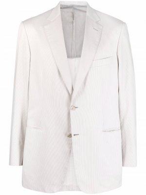 Однобортный пиджак в полоску Brioni. Цвет: белый