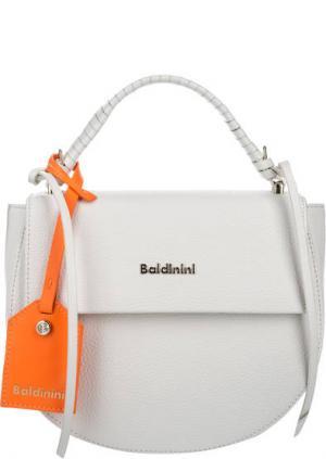 Кожаная сумка с откидным клапаном Baldinini. Цвет: белый