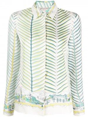 Рубашка с абстрактным принтом Emilio Pucci. Цвет: синий