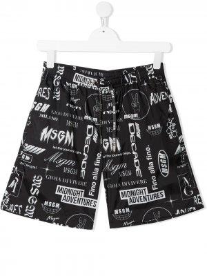 TEEN logo-print swim shorts Msgm Kids. Цвет: черный