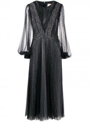 Платье из тюля с блестками и плиссировкой Christopher Kane. Цвет: черный