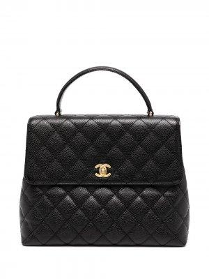 Стеганый портфель 2003-го года Chanel Pre-Owned. Цвет: черный