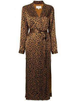 Леопардовый халат Michelle Mason. Цвет: коричневый