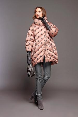 Полупальто Naumi. Цвет: горох, пыльно-розовый