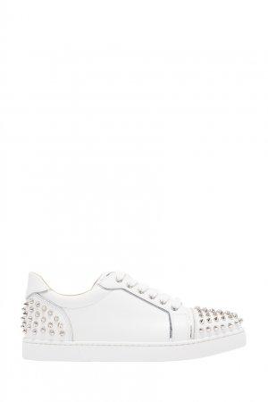 Белые кожаные кроссовки с шипами Vieira Christian Louboutin. Цвет: белый