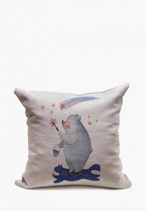 Подушка декоративная Счастье в мелочах Раскрашивая звезды. Цвет: серый