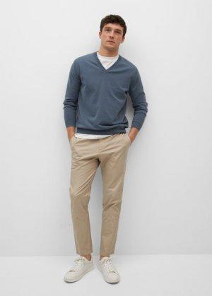Пуловер из хлопка - Tenv Mango. Цвет: синий