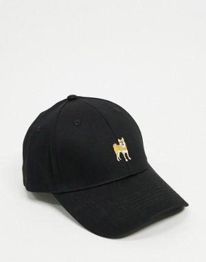 Бейсболка с вышитой собакой -Черный ASOS DESIGN