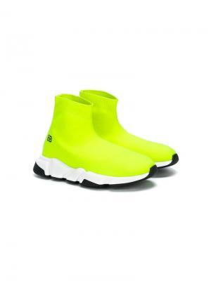 Кроссовки Speed с носочной вставкой Balenciaga Kids. Цвет: желтый