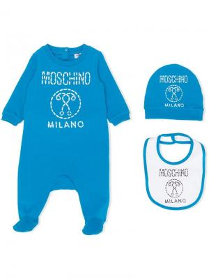 Пижама, нагрудник и шапка с логотипом Moschino Kids. Цвет: синий