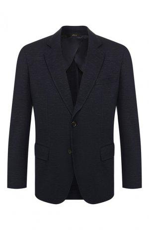 Пиджак из смеси шерсти и шелка Brioni. Цвет: синий