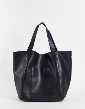 Большая черная сумка-тоут из искусственной кожи со съемным кошельком -Черный цвет ASOS DESIGN
