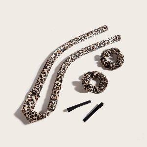 5шт Инструмент для укладки волос с леопардовым принтом SHEIN. Цвет: многоцветный
