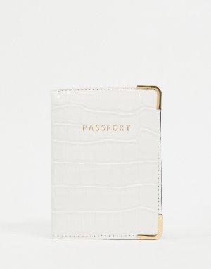 Белая обложка для паспорта с крокодиловым узором -Белый ASOS DESIGN