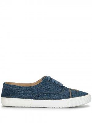 Джинсовые кеды на шнуровке с логотипом CC Chanel Pre-Owned. Цвет: синий