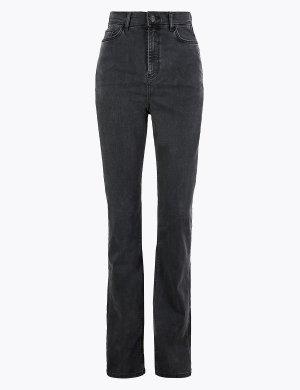 Расклешенные джинсы слим с высокой посадкой Per Una. Цвет: черный