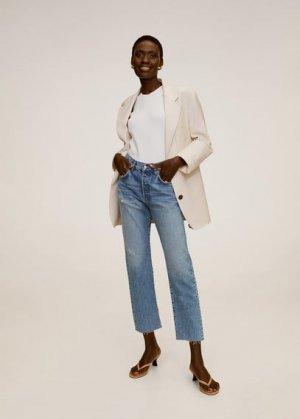 Укороченные джинсы straight fit - Havana Mango. Цвет: синий средний