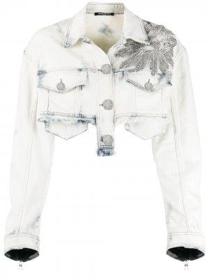 Укороченная джинсовая куртка с кристаллами Balmain. Цвет: синий
