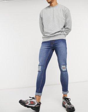 Синие джинсы скинни -Голубой Criminal Damage