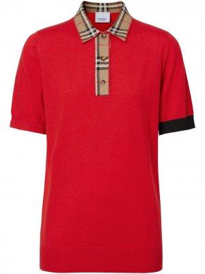 Рубашка-поло в клетку Vintage Check Burberry. Цвет: красный