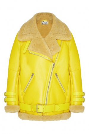 Желтая кожаная куртка с меховой отделкой Acne Studios. Цвет: желтый