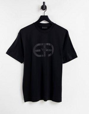 Черная футболка с крупным логотипом на груди -Черный цвет Emporio Armani