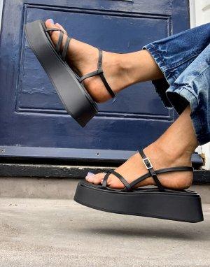 Черные сандалии с ремешками на платформе Courtney-Черный цвет Vagabond