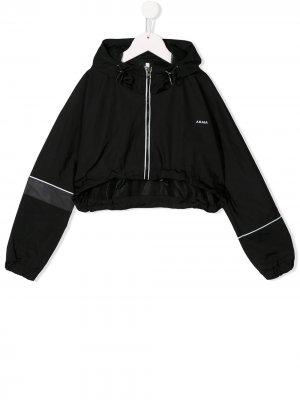Укороченная куртка с капюшоном Cinzia Araia Kids. Цвет: черный
