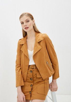 Куртка кожаная Pimkie. Цвет: коричневый