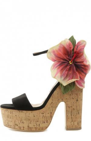 Босоножки Flower Kate на пробковой подошве Brian Atwood. Цвет: черный