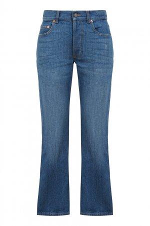 Прямые джинсы с нашивкой Donald Duck Gucci. Цвет: голубой