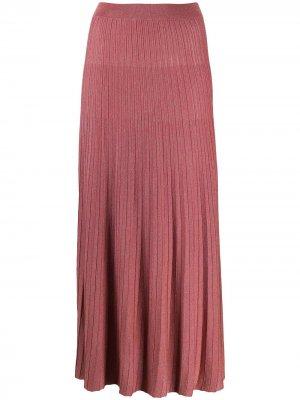 Плиссированная юбка с завышенной талией Roberto Collina. Цвет: розовый