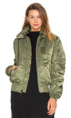 Куртка-бомбер с воротником из искусственной шерсти b-15 slim fit ALPHA INDUSTRIES. Цвет: зеленый