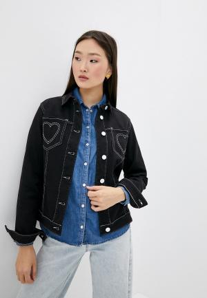 Куртка джинсовая Love Moschino. Цвет: черный