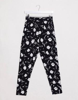 Трикотажные брюки галифе с монохромным цветочным принтом -Многоцветный ASOS DESIGN