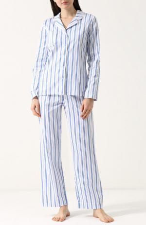 Хлопковая пижама в полоску Derek Rose. Цвет: белый