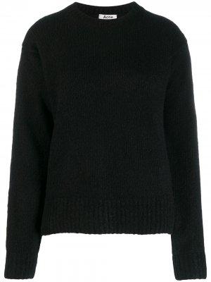 Пуловер в рубчик с V-образным вырезом Acne Studios. Цвет: черный