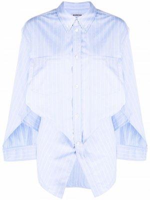 Рубашка с драпировкой Balenciaga. Цвет: синий