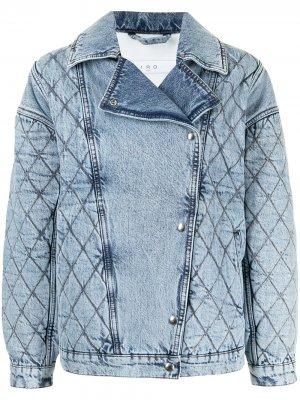 Quilted denim biker jacket IRO. Цвет: синий