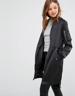 Удлиненная атласная куртка-пилот Vero Moda. Цвет: черный