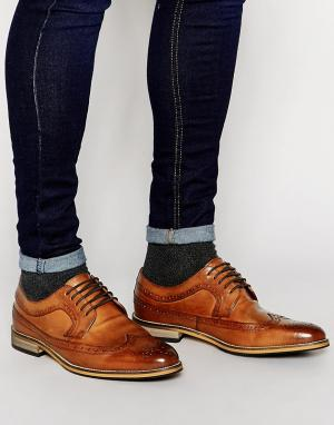 Светло-коричневые кожаные броги ASOS DESIGN. Цвет: рыжий