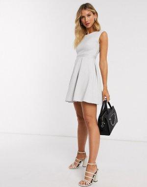 Приталенное платье мини цвета слоновой кости Closet-Белый Closet London