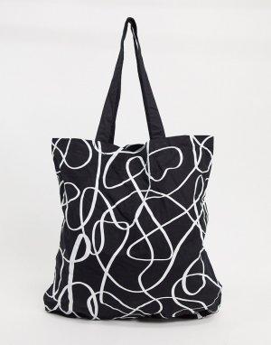 Большая сумка-шопер из органического хлопка с абстрактным принтом -Многоцветный ASOS DESIGN
