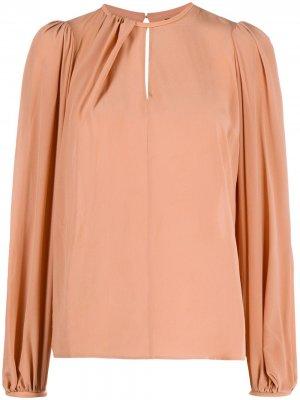 Блузка со сборками Elisabetta Franchi. Цвет: розовый