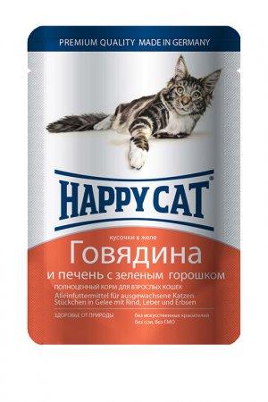 Паучи: говядина, печень 0,1 кг HAPPY CAT. Цвет: белый