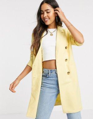 Длинный двубортный пиджак -Желтый Ichi