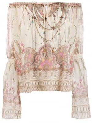 Блузка на одно плечо с принтом Camilla. Цвет: нейтральные цвета