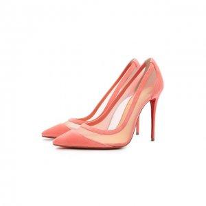 Комбинированные туфли Galativi 100 Christian Louboutin. Цвет: розовый