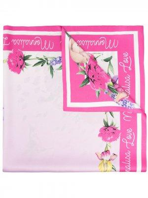 Атласный платок с цветочным принтом Monnalisa. Цвет: розовый