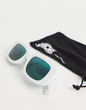 Белые прямоугольные солнцезащитные очки среднего размера с зелеными линзами -Белый ASOS DESIGN